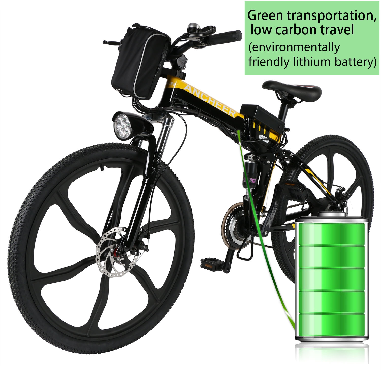 Clearance! 21 Speed 26 inch Electric Bike Power Plus Foldable Mountain Bike Bicycle HITC