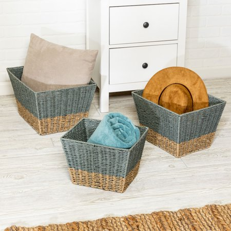 Mainstays Set of 3 Square Nesting Seagrass 2-Color Baskets, Natural & Grey