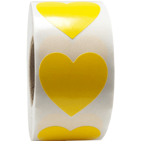 Yellow Heart Stickers For Valentine's Day Crafting Scrapbooking 1 Inch 500 Adhesive Stickers