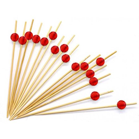 47 Red Bamboo Cocktail Ball Picks Includes 300 Decorative Bamboo
