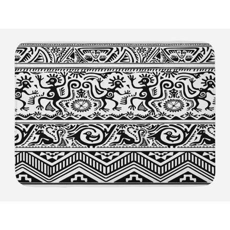 Primitive Bath Mat, Monkeys Birds Primitive Animal Motifs Tribal Ornaments African Petroglyph Theme, Non-Slip Plush Mat Bathroom Kitchen Laundry Room Decor, 29.5 X 17.5 Inches, Black White, Ambesonne - Monkey Theme
