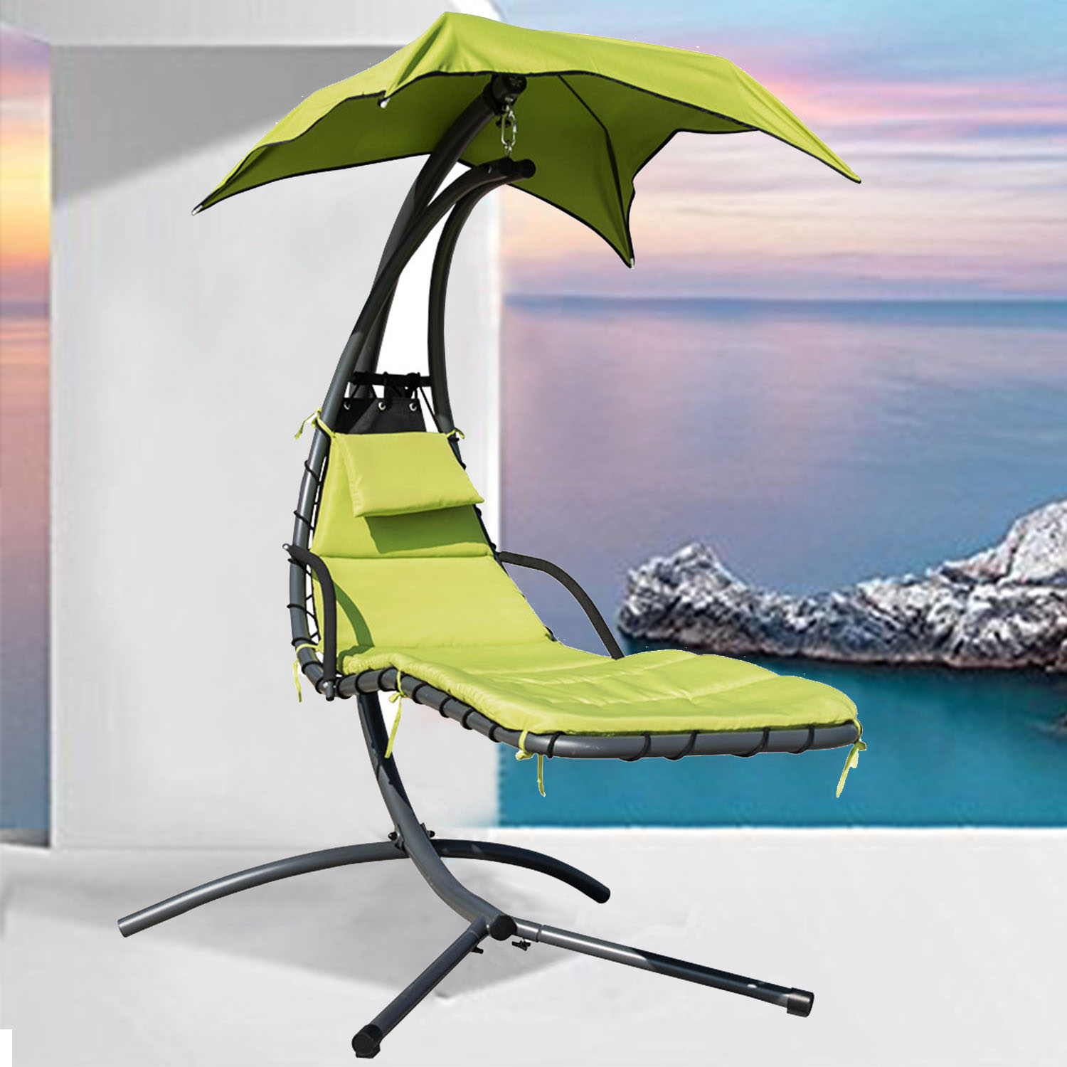 Finether Hanging Chaise Lounge Chair | Detachable Outdoor orIndoor Hammock Chair Swing with Arc Stand,Canopy,and Cushion for Patio,Beach,Yard,Garden