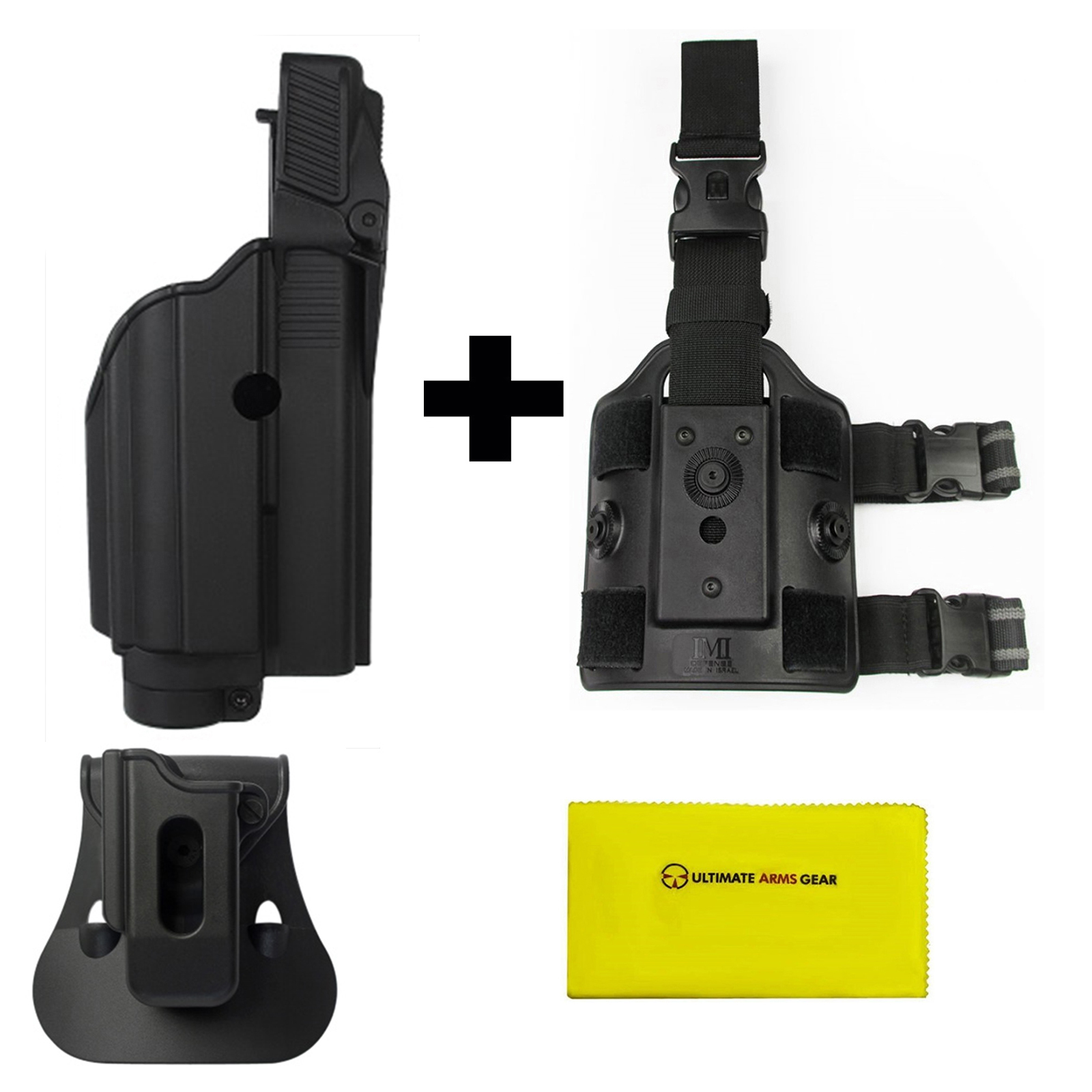 IMI Defense ZSP08 Single Mag Pouch & Paddle + Z1600 Level 2 Flashlight Laser Rotate Holster Glock 17 19 22 23 25 31 32... by