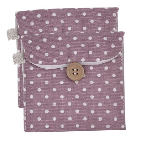 Unique Napkin Holders (Unique Bargains Linen Dots Pattern Button Closure Napkin Pad Holder Bag Pouch Purple 2)