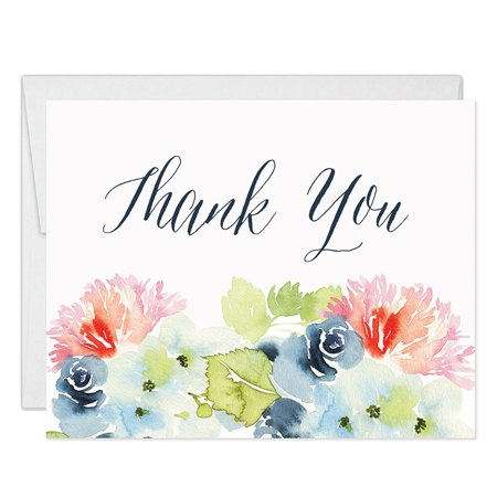 Lovely Flower Blooms Thank You Notecards with Envelopes ( Pack of 25 ) Folded Blank Thanks Any Occasion Baby Bridal Shower Wedding Birthday Anniversary Thank You Gracias Cards Excellent Value VT0019B](Bridal Shower Thank You Cards)