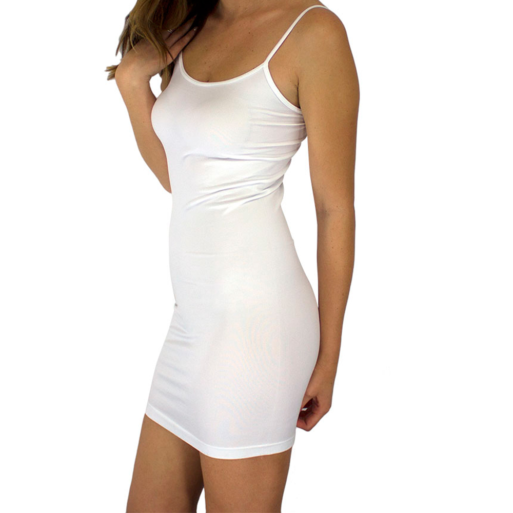 Extra Long Seamless Tunic Dress Slip Camisole Layering Tank Top ...