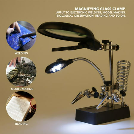 Spptty Helping Hand 2.5X/7.5X/10X LED Lighting Black Magnifying Glass Clamp Stand, Helping Hand Magnifier, Magnifying Glass Clamp