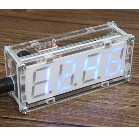 4-Digit DIY LED Electronic Clock Kit Microcontroller 0.8inch Digital Tube Clock with Thermometer Hourly Chime Function DIY Kit - Microcontroller Kit