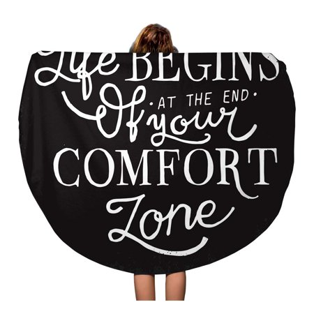 SIDONKU 60 inch Round Beach Towel Blanket Motivational Saying Life Begins at The End of Comfort Travel Circle Circular Towels Mat Tapestry Beach Throw (Comfort At The Beach)