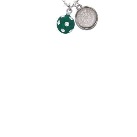 Silvertone 3-D Frosted Green Resin Ornament with Crystals Sun Sea Sand Serenity Engraved Necklace
