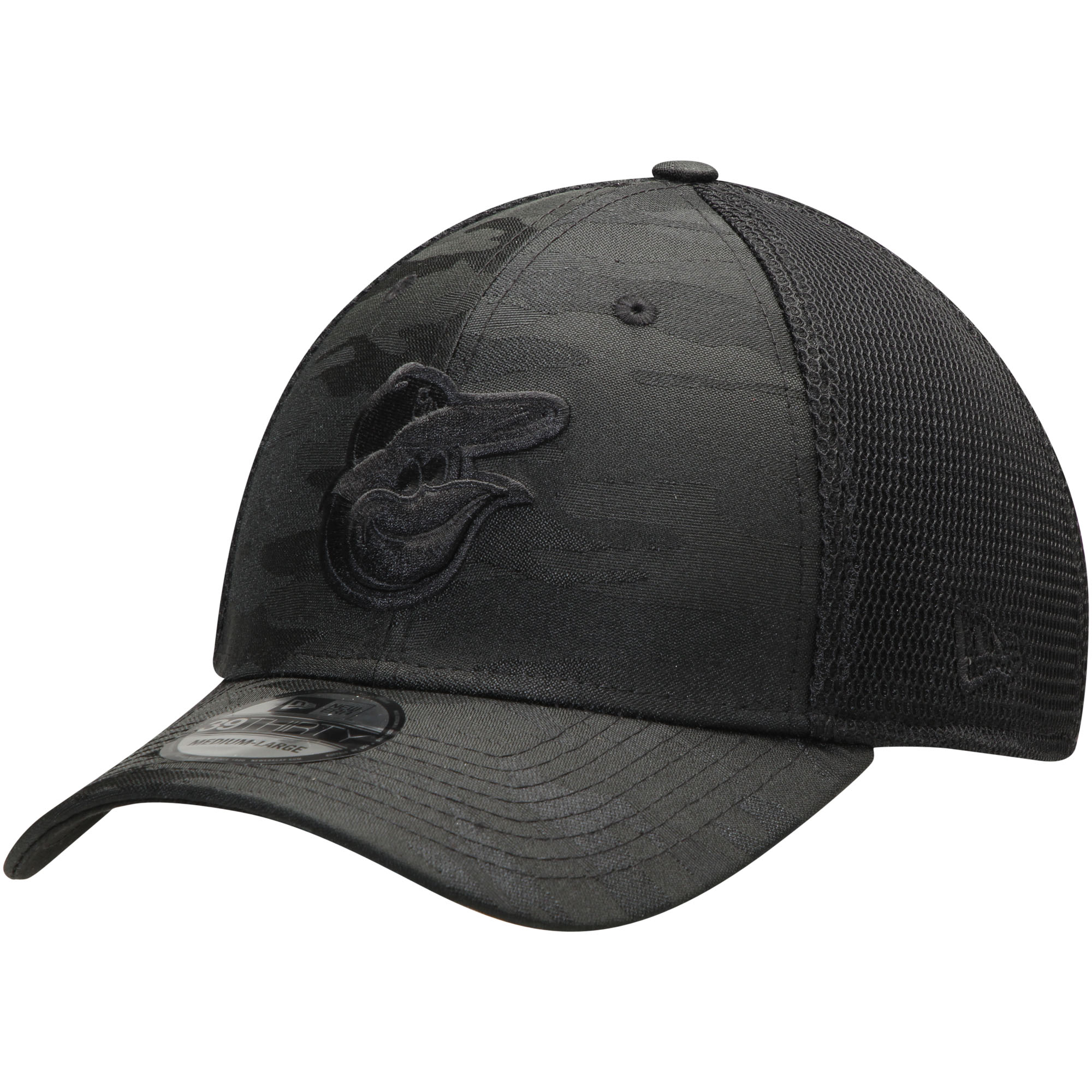 cheaper 71382 ac890 Baltimore Orioles New Era Camo Front Neo 39THIRTY Flex Hat - Black ...