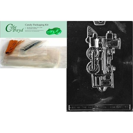 Cybrtrayd Mdk50-K018 Train Engine Kids Chocolate Candy Mold with Packaging Bundle, Includes 50 Cello
