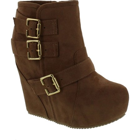 Soda Women's Besso Faux Suede Triple Buckle Platform Wedge Ankle Bootie Boot - Faux Suede Wedge Boot