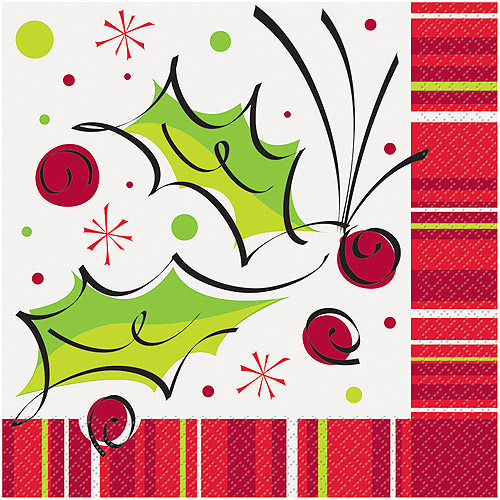 Unique Holly Pop Christmas 13in Luncheon Napkins, White Green Red, 16 CT
