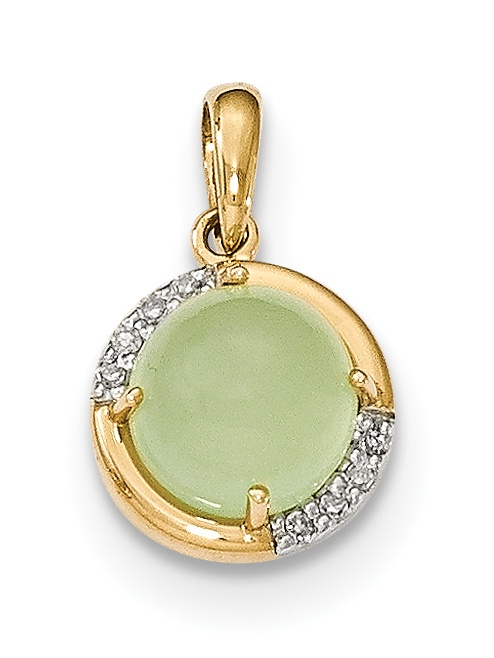14k Green Chalcedony and Diamond Pendant by Core Gold