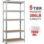 """Yaheetech Industrial Storage Rack 71""""H x 35""""W x 15""""D 5 Shelf Steel Shelving, Silver"""