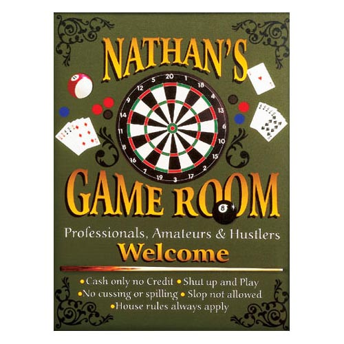 Personalized 11 x 14 Game Room Canvas
