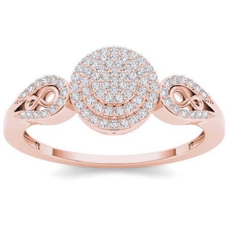 1/5 Carat T.W. Diamond Double Halo Cluster 10kt Rose Gold Engagement (Double Rose Rings)