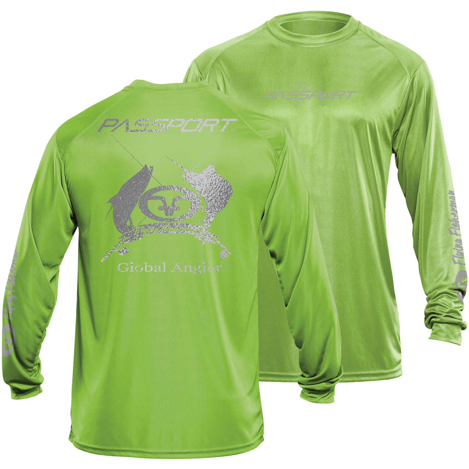 Flying Fisherman Passport L S Performance Tee, Lime, L by Flying Fisherman