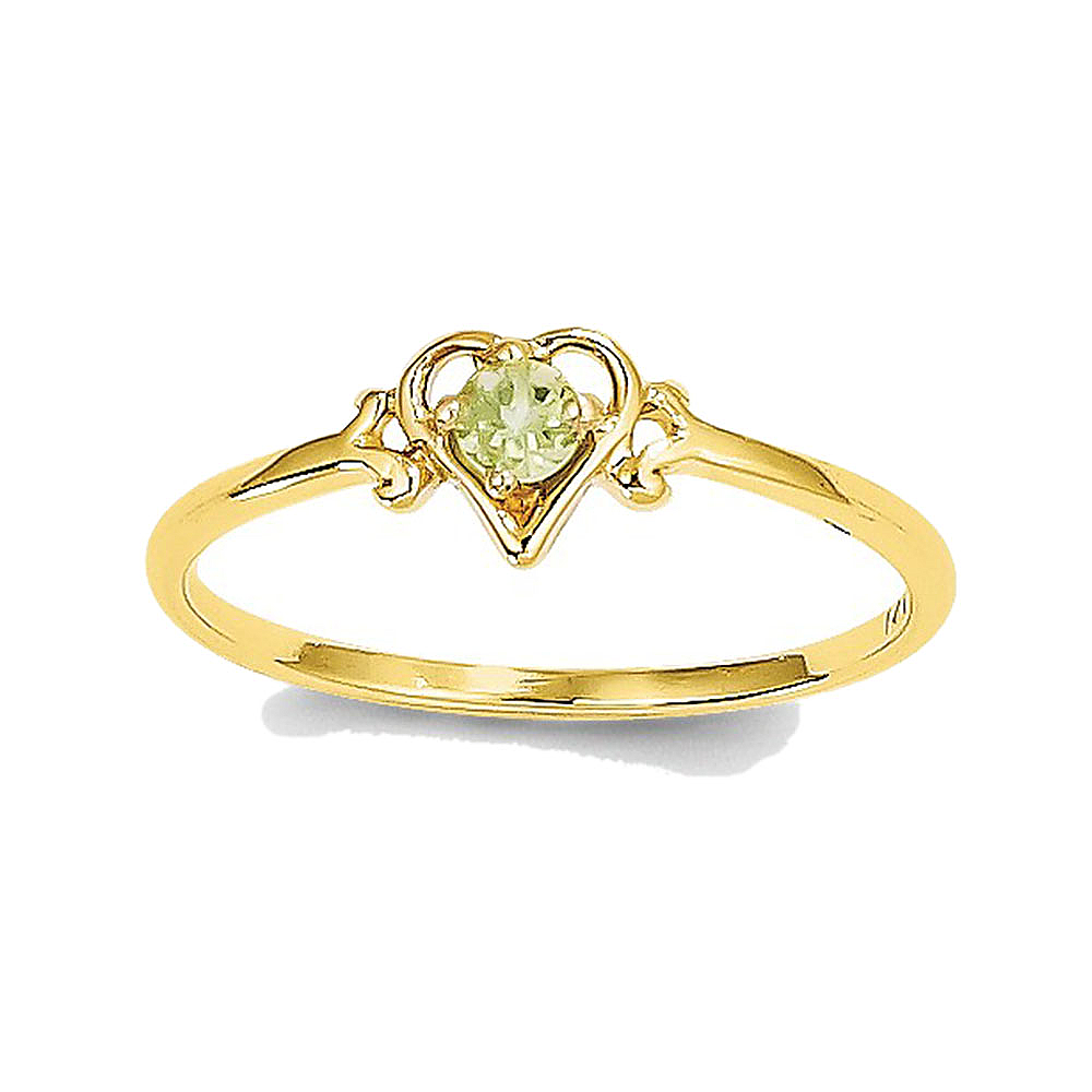 14K Yellow Gold Peridot Round Shape in Heart Ring by gemaffair
