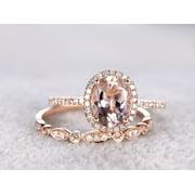 Oval Cut 2 Carat Morganite and Diamond Wedding Ring Set in Rose Gold