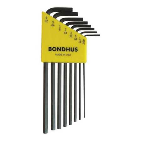 Bondhus 12132 Set of 8 Hex L-wrenches, Long Length, sizes .050-5/32""