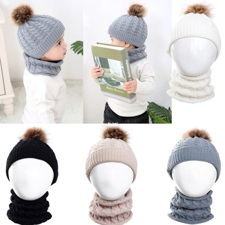 2Pcs Toddler Baby Boys Girls Winter Warm Fur Pom Bobble Knit Beanie Hats Caps scarf ()