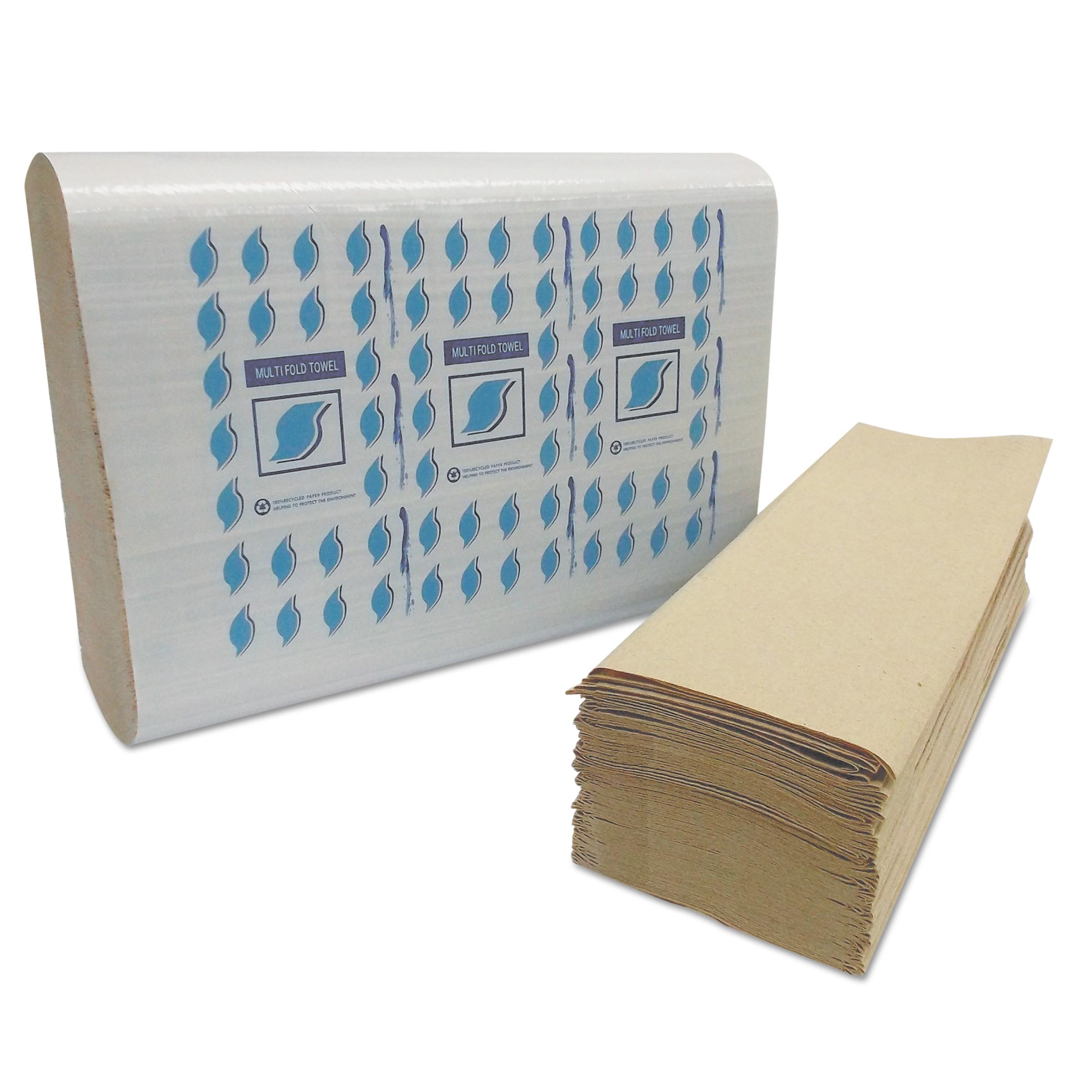 GEN Multi-Fold Paper Towels, Kraft, 1-Ply