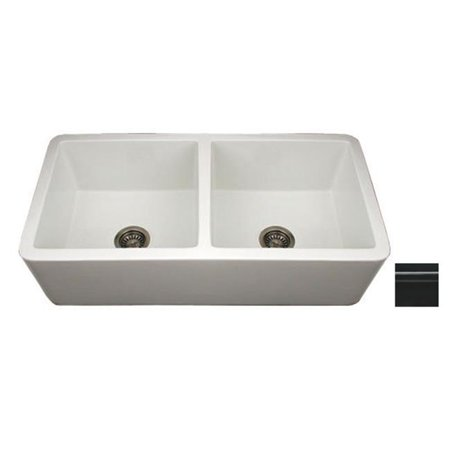 36.75 in. Duet reversible double bowl fireclay sink with smooth front apron- Black