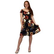 peach couture floral print princess seam fit and flare cocktail skater dress black large