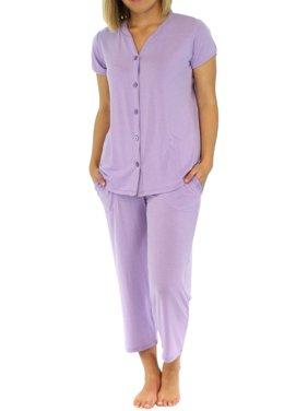 0b00364e8057d4 Product Image PajamaMania Women's Lightweight Short Sleeve Button Up Capri  Pajama PJ Set