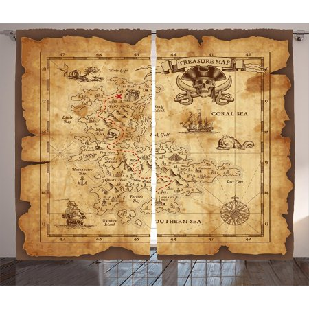 Island Map Decor Curtains 2 Panels Set, Super Detailed Treasure Map Grungy Rustic Pirates Gold Secret Sea Theme, Window Drapes for Living Room Bedroom, 108W X 84L Inches, Beige Brown, by Ambesonne for $<!---->