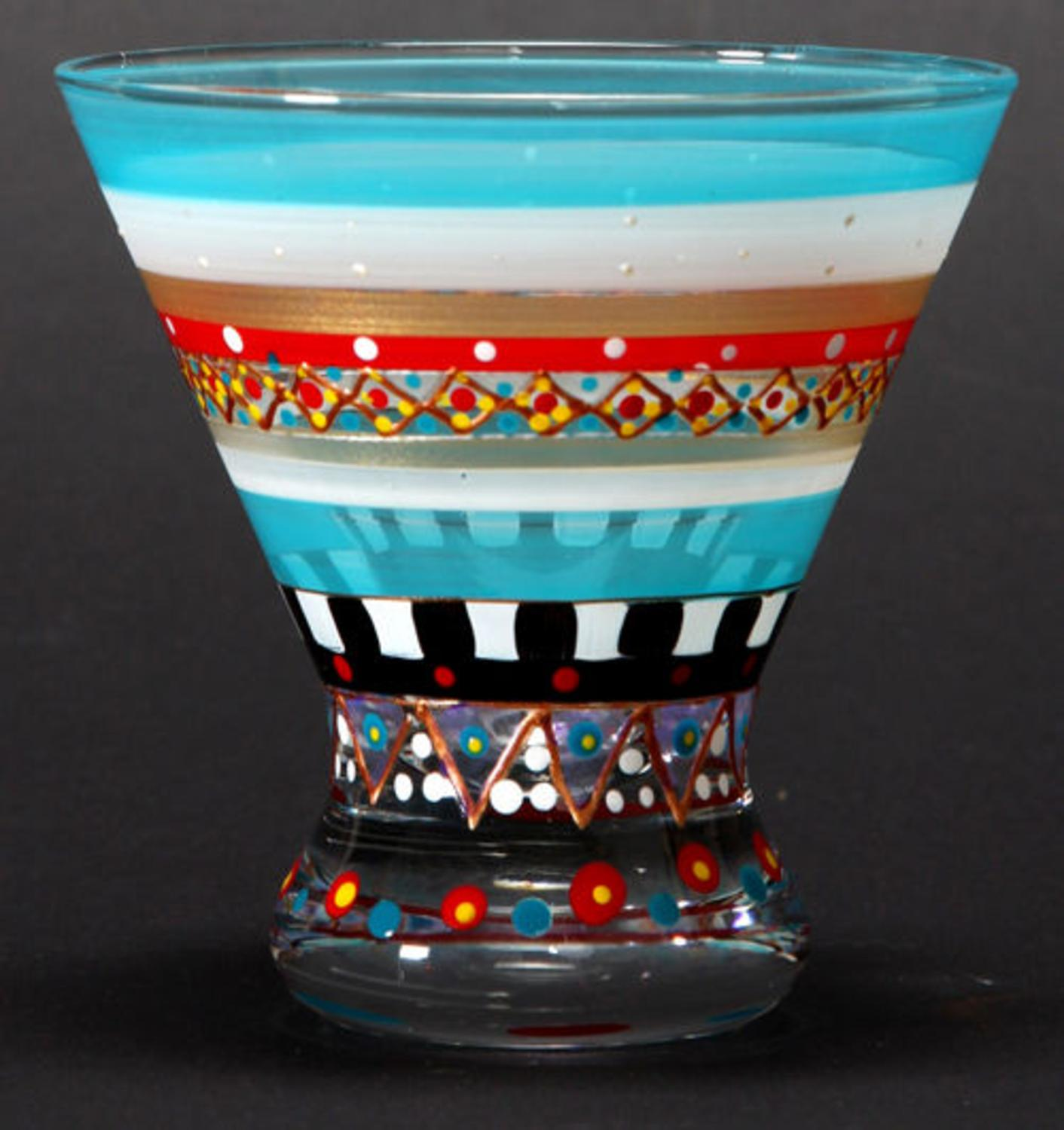 Set of 2 Mosaic Carnival Confetti Hand Painted Cosmopolitan Wine Glass - 8.25 Oz
