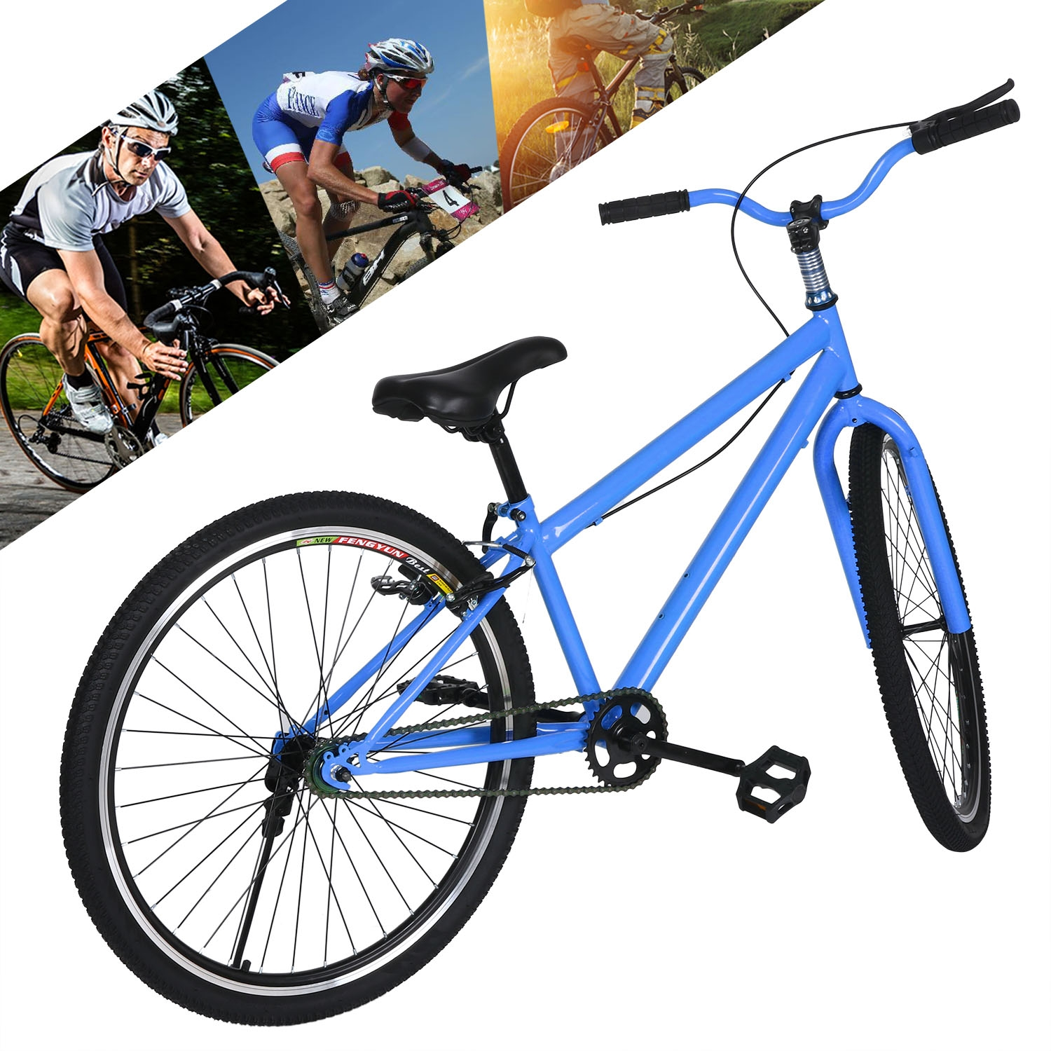 """26"""" Mountain Single Speed Road Bike For Sports Outdoors (..."""