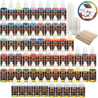 U.S. Art Supply 54 Color Ultimate Airbrush Acrylic Paint Set with Cleaner, Thinner, 100-Plastic Mixing Cups