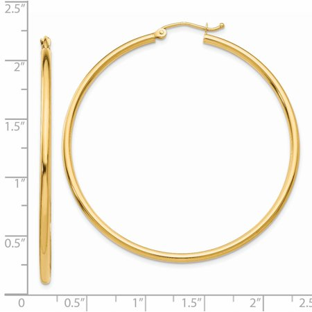 14K Yellow Gold Polished 2mm Round Hoop Earrings - image 1 of 4