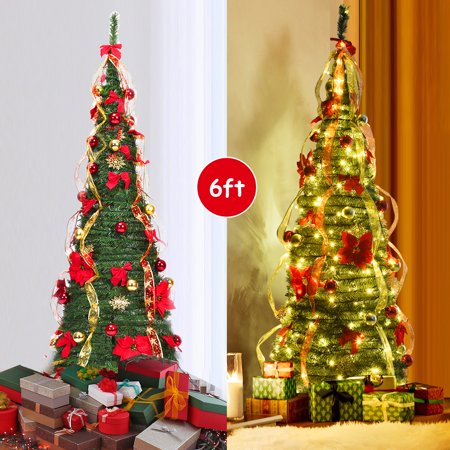Gymax 6' Christmas Spruce Pre-lit Poinsettia Tree Decorated Pop-Up Artificial Christmas Tree ()