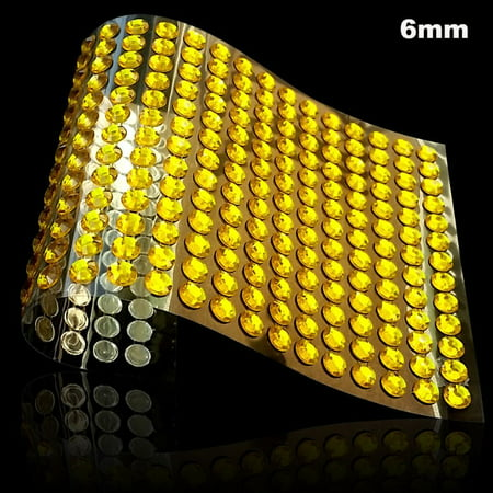 Self Adhesive Rhinestone 6mm Crystal Diamond Sticker , 1500 pcs  DIY Self Adhesive Colorful Gem Rhinestone Embellishment Stickers Sheet Fits for Crafts,Body,Nail Makeup Festival Carnival (Gold) Jewels Adhesive Rhinestones