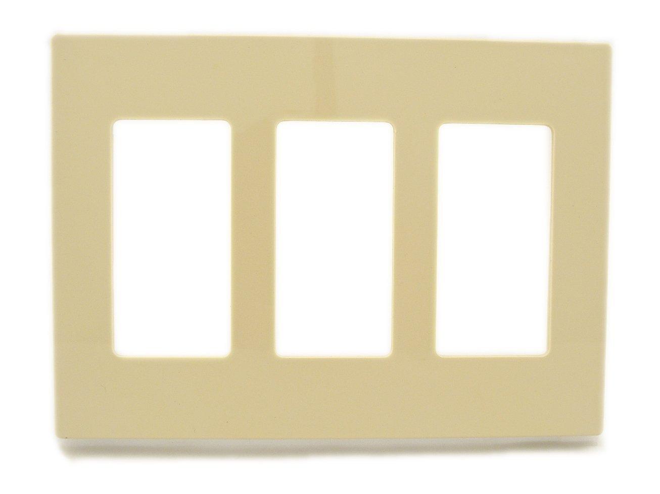 decora wall plates single leviton 80311si ivory screwless snapon polycarbonate three gang decora wall plate