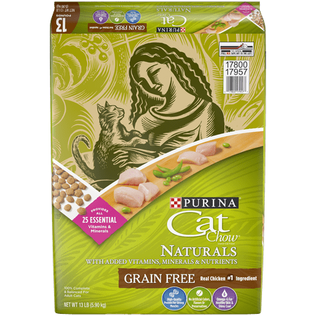 Purina Cat Chow Grain Free Chicken Natural Dry Cat Food, 13 (Best Food For Struvite Crystals In Cats)