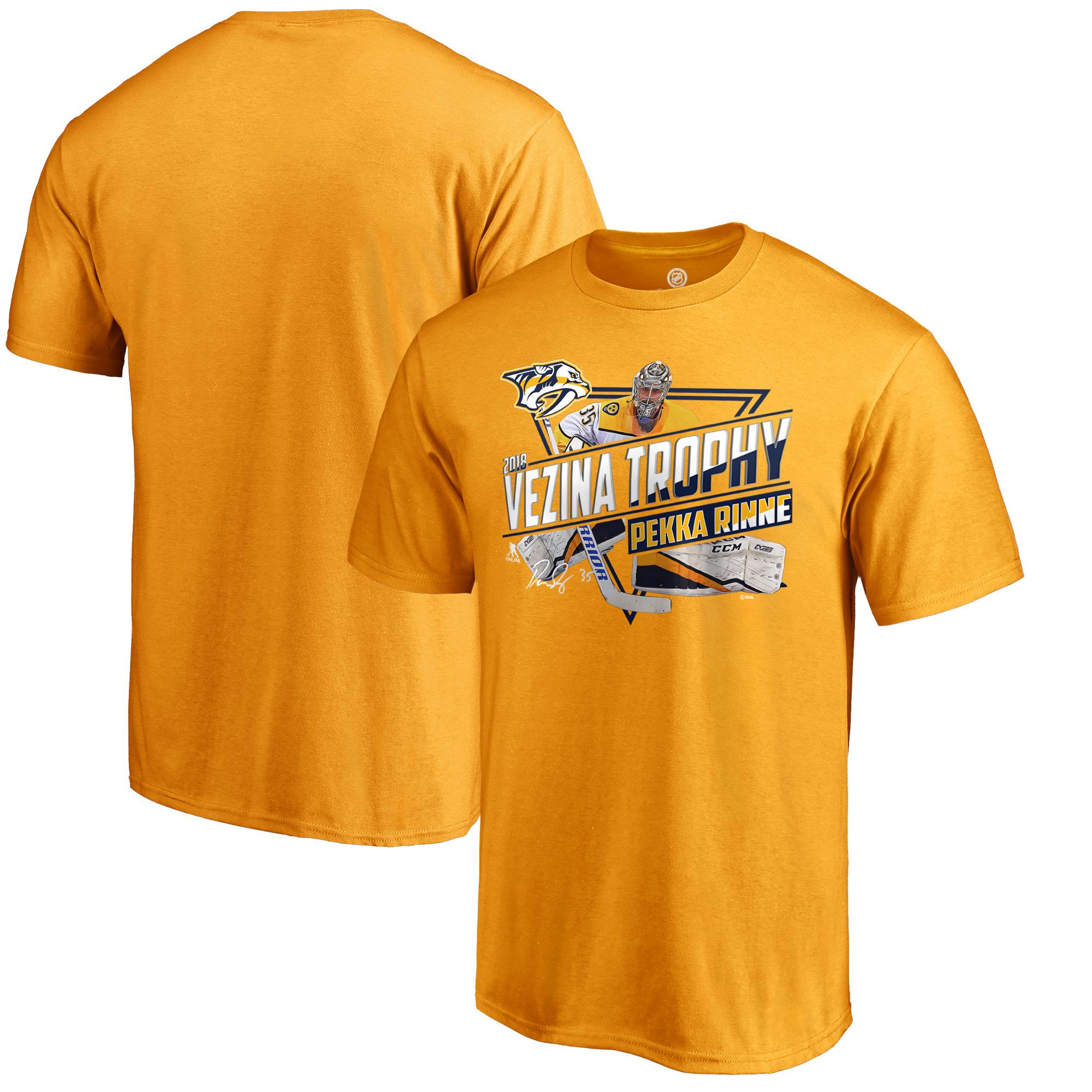 Pekka Rinne Nashville Predators Fanatics Branded 2018 Vezina Trophy Winner T-Shirt - Gold