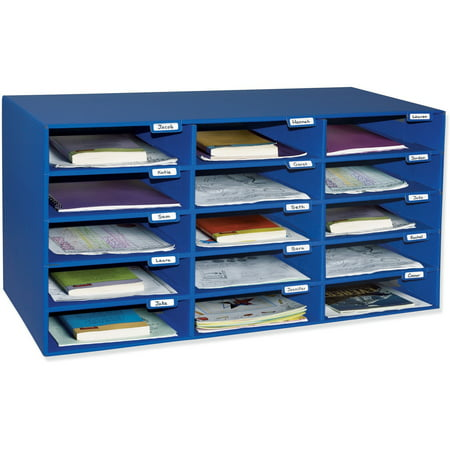 Pacon Classroom Keepers 15-Slot Mailbox, Blue, 12.88