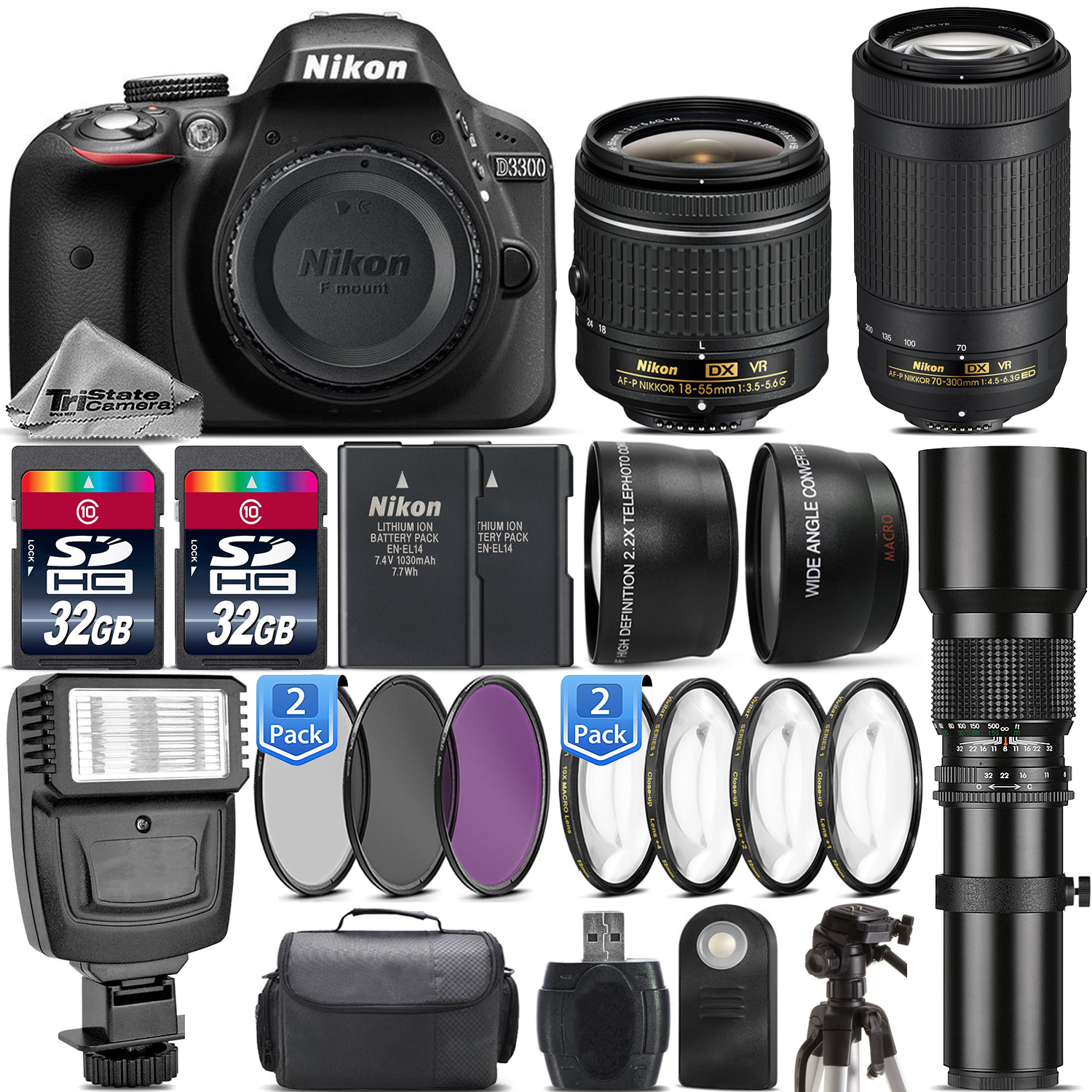 Nikon D3300 DSLR Camera + Nikon 18-55mm VR + AF P 70-300mm VR + 500mm - 64GB Kit