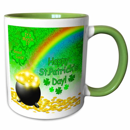 3dRose Digital Art St. Patricks Pot of Gold end of Rainbow and Green Clover - Two Tone Green Mug, 11-ounce