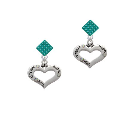 Heart With 3 Ab Crystals   Dream Hope Wish Teal Crystal Diamond Shape Earrings