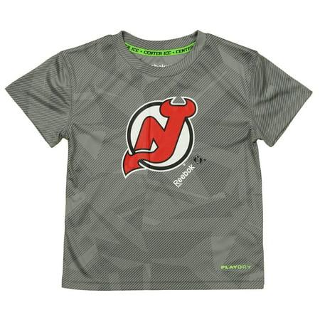 Reebok NHL Kids New Jersey Devils Palydry Frost Logo Tee, -