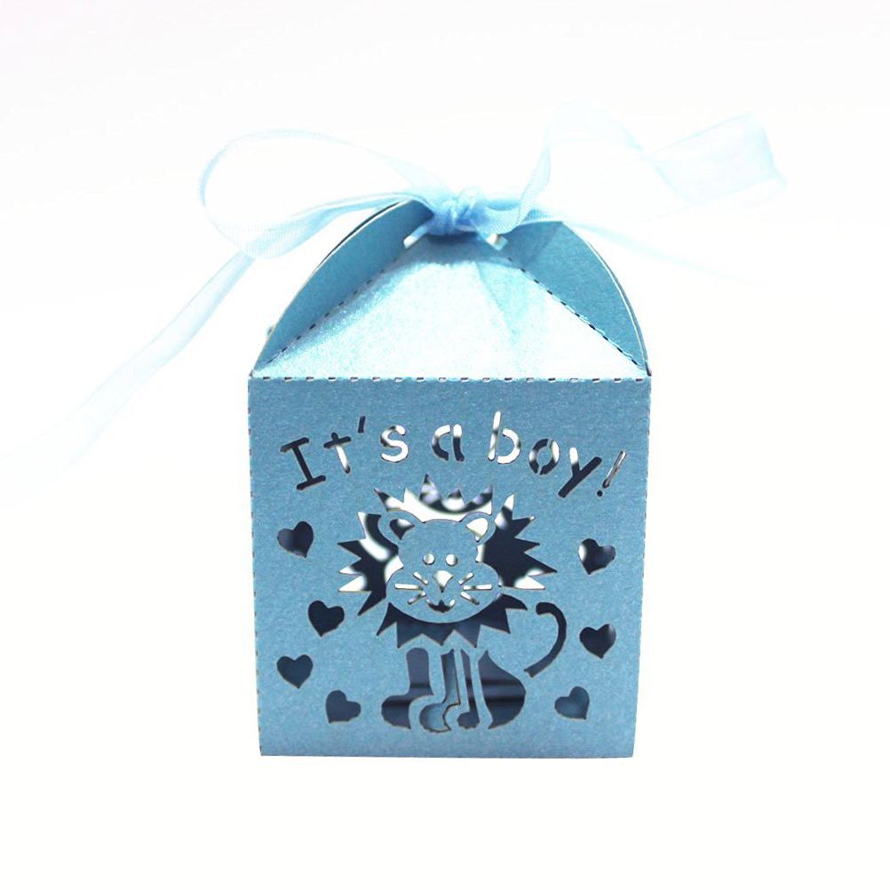 50pcs Itu0027s A Boy Laser Cutting Favors Box Candy Gift Paper Candy Sweets  Gift Boxes Baby Shower Favors