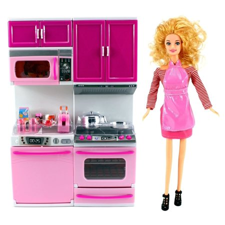My Happy Kitchen Dishwasher & Stove Battery Operated Toy Doll Kitchen Playset w/ Toy Doll, Lights, Sounds, Perfect for Use with 11-12
