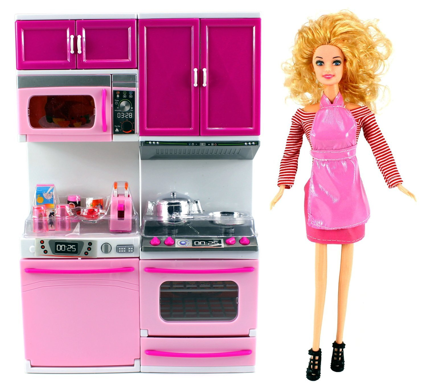 "My Happy Kitchen Dishwasher & Stove Battery Operated Toy Doll Kitchen Playset w/ Toy Doll, Lights, Sounds, Perfect for Use with 11-12"" Tall Dolls"