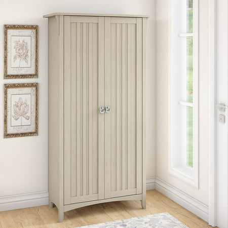 Bush Furniture Salinas Tall Storage Cabinet with Doors in Antique White ()